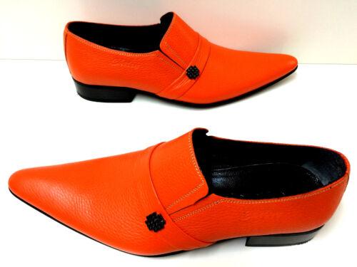 da Scarpe Orange Leather Designer Chelsy Slipper Fancy Handmade 42 uomo EIrqwaxI7t