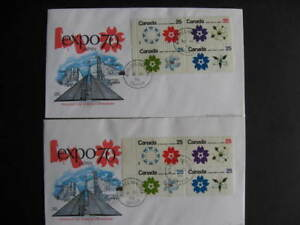 Canada-expo-70-blocks-tagged-reg-511a-511b-2-FDCs-First-Day-Covers-Ex-Bileski
