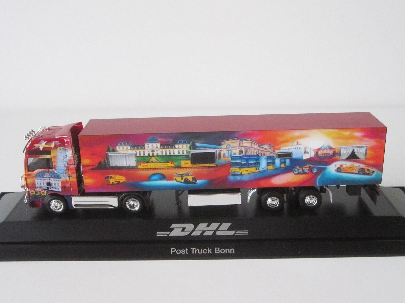 On TGA XXL Post camion Bonn DHL 1 87 h0 Mallette semi-remorque camion SZ PC Herpa 121392