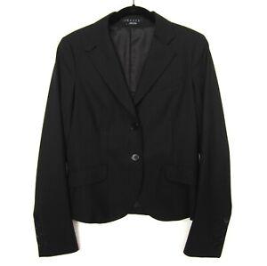 Theory Women's Wool Two Button Blazer Jacket Black Size 6 Style 6401101R