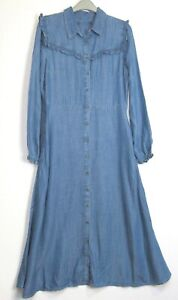 Marks-amp-Spencer-Denim-Ruffle-Midi-Dress-Size-8-20