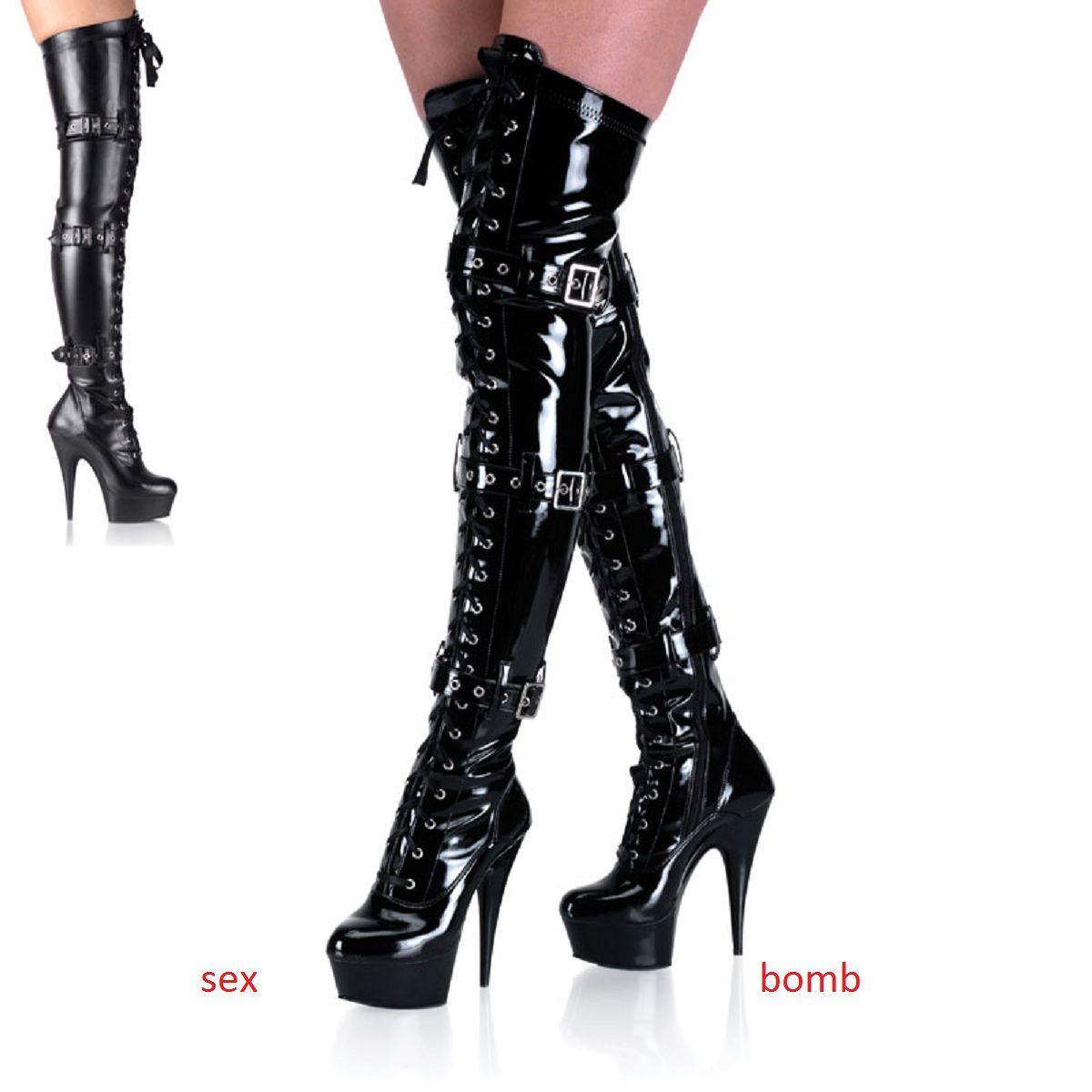 Sexy Stivali Coscia Zip Tacco 15 dal 36 al 44 Nero Lucido/Opaco Cinghie GLAMOUR