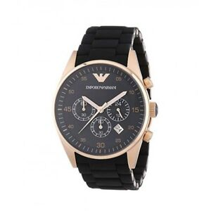 66de22ec152 Image is loading Emporio-Armani-AR5905-Black-and-Gold-Chronograph-Dial-