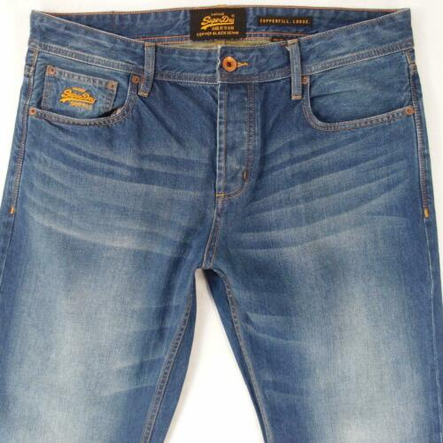 Mens SuperDry COPPERFILL LOOSE Straight Blue Jeans