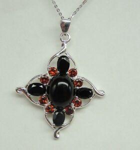 Exklusiver-8-9-Carat-schwarzer-Spinell-Granat-Anhaenger-925-Silber-Collier-Kette