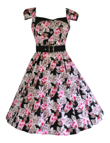 Pink 50's Retro Talpa cinturino Dress Swing 40's 8 con Tea Rosa Vintage Nuovo Ladies 18 HgxAInq