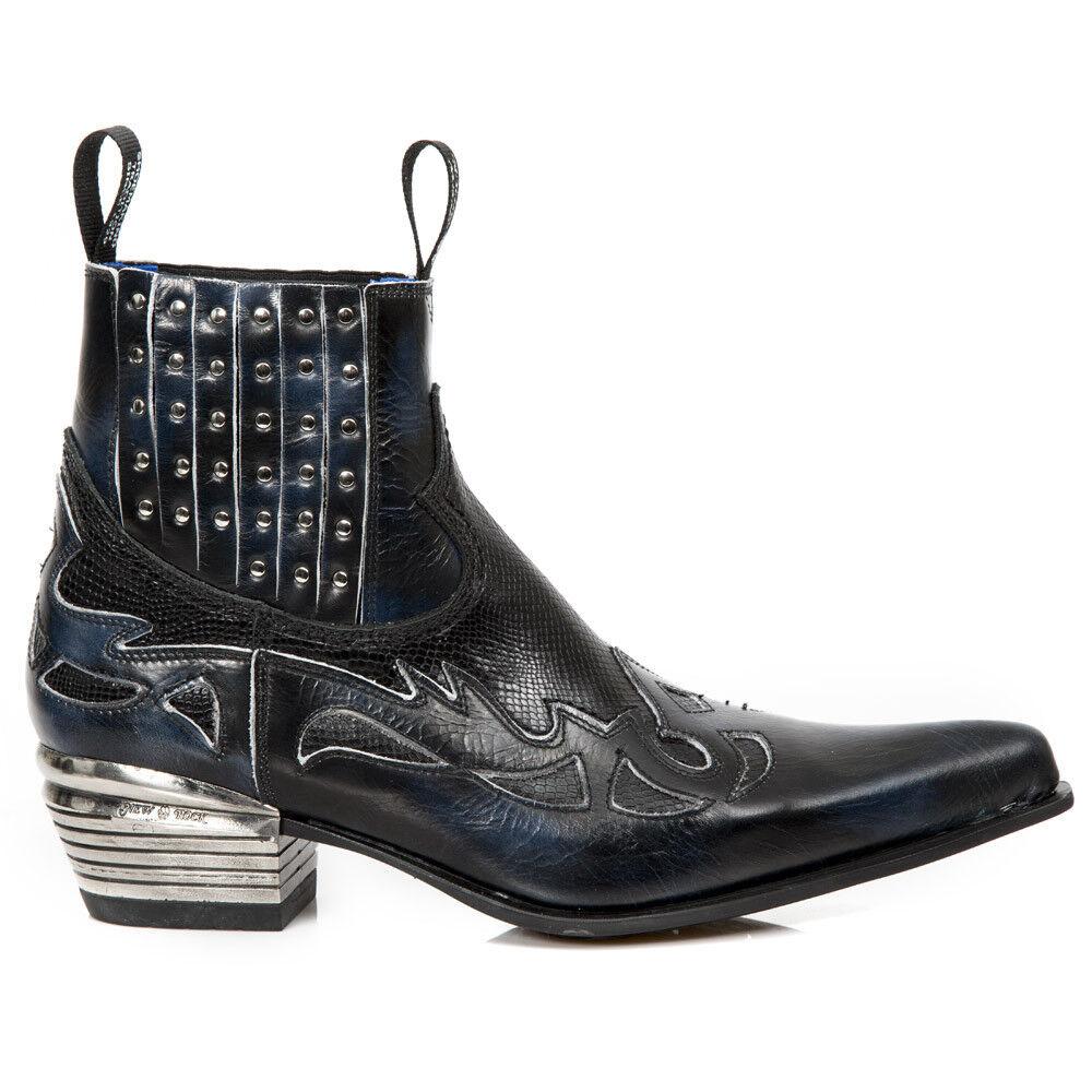 New Rock Nr M.WST047H S2 Negro, Azul-botas, Dallas, hombres