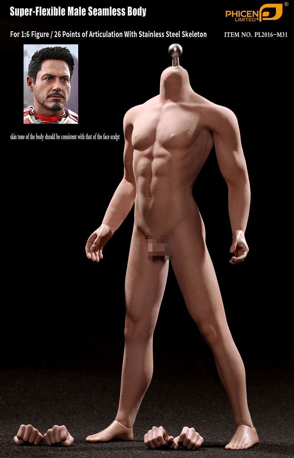 PHICEN PL2016-M31 SUPER FLEXIBLE SEAMLESS MALE BODY 2.0 TALL SLIM FOR HOT TOYS