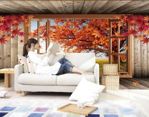 3D Ahornblätter Fenster  9743 Tapete Wandgemälde Tapete Tapeten Bild Familie DE