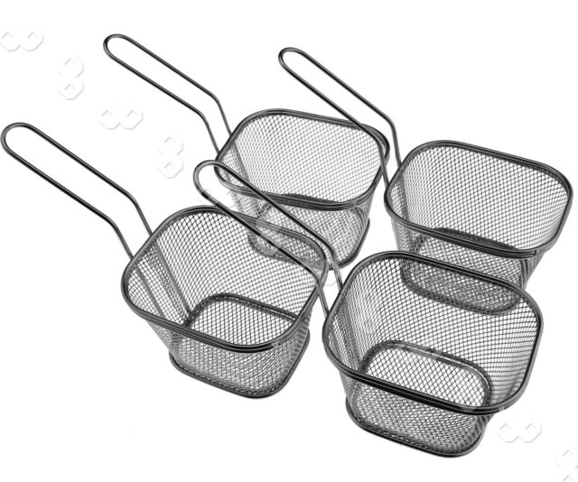 4pcs Mini Square Chip Frying Basket Prawn Deep Fry Noodle Boiling Basket