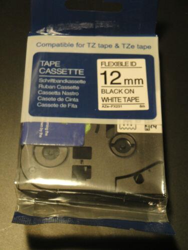 "5 Black on White Flexible Label Tape Compatible 1//2/"" 12MM TZe Fx231 231 BROTHR"