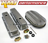 Sbc Chevy 350 400 Finned Aluminum Top End Valve Covers Air Cleaner Dress Up Kit