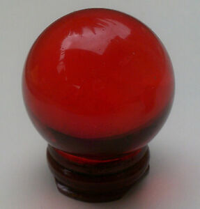 Details about Red Crystal Ball 40mm with Wooden Stand  Sphere Fortune  Teller FREE POSTAGE