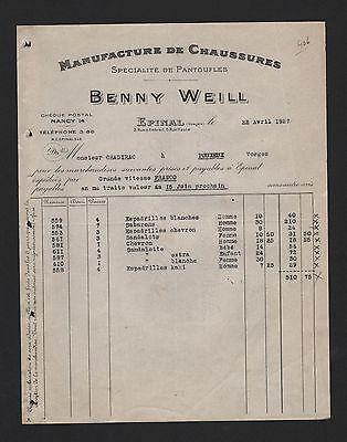 Épinal Rechnung 1927 Benny Weill Manufacture De Chaussures Spécialité De Pantufl
