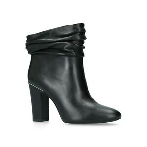 9304285d9f99 BNIB DKNY Sabel Black Leather High Heel Slouch Mid Calf Ankle Ruched ...