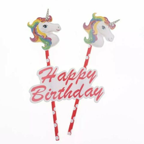 Unicorn Birthday Cake Toppers Decorating Cup Cake Party Kids Happy Birthday
