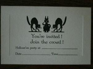 Vintage-Halloween-Invitation-UNUSED-1920-1930-039-s-Scary-Black-Cat-Cats-Spooky-A9