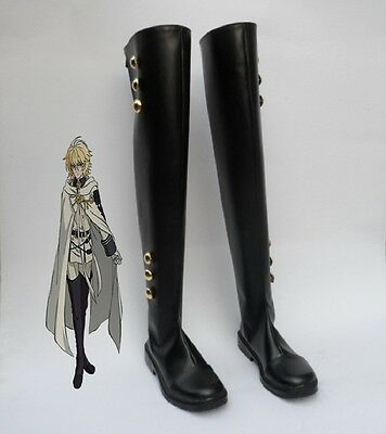 Seraph of the End Mikaela Hyakuya military Cosplay Costume Boots Boot Shoes Shoe