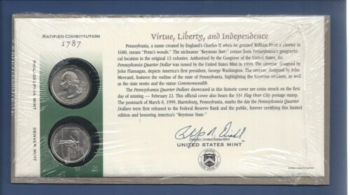 1999 PENNSYLVANIA STATE QUARTERS...FIRST DAY COIN COVER...2 COINS...P /& D MINT