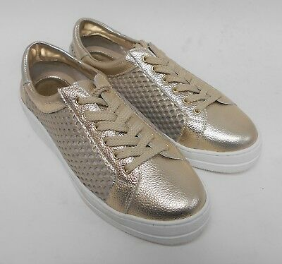 d0972f18aa2 D129 Pre Owned Steven Natural Comfort Napa Leather Lace-Up Sneaker Gold 6 M  | eBay