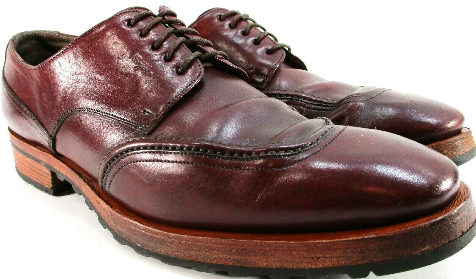 Ferragamo Men Oxford shoes Size 9 D Brown Style 13372 Genuine Leather Made
