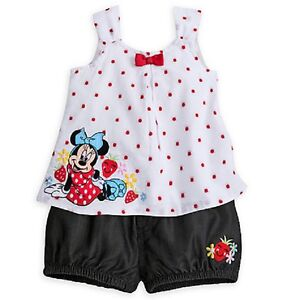 85ba4101a DISNEY STORE ADORABLE MINNIE MOUSE BLOOMER SET BABY GIRL WOVEN DRESS ...