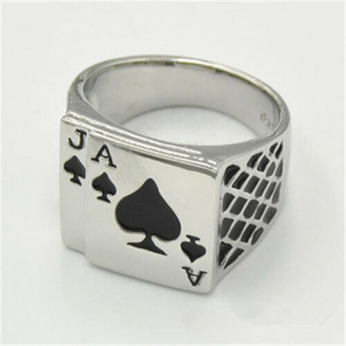 Ace Of Spades Chequered Ring Skull Punk Rock Biker Silver Mens Stainless Steel