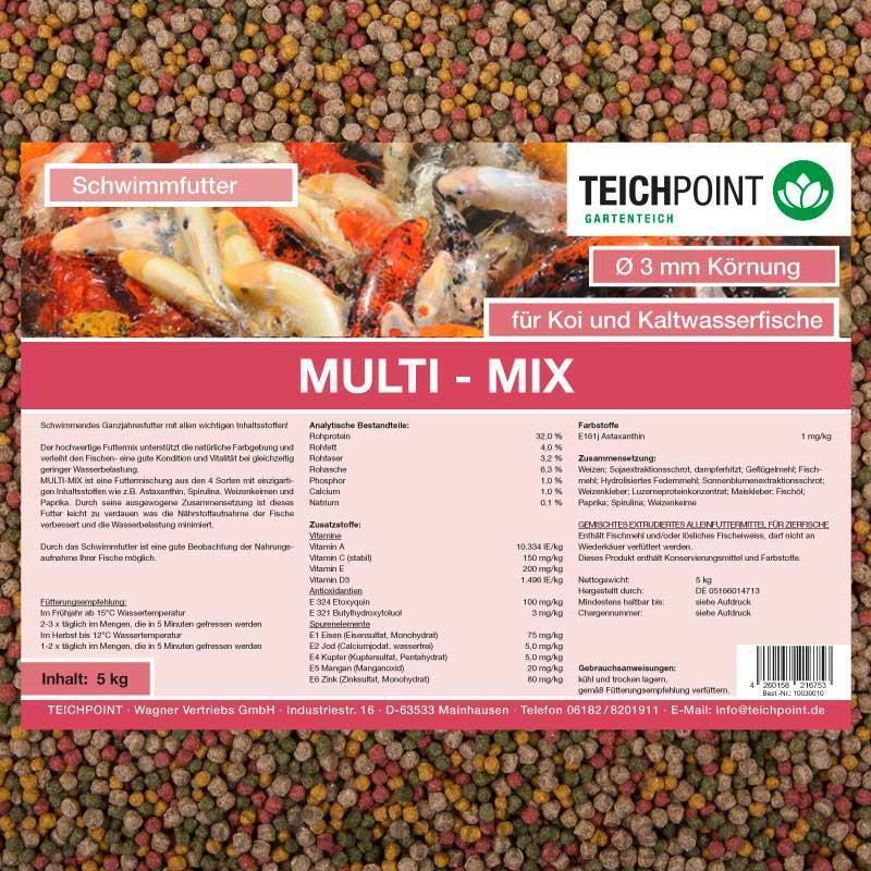 Koifutter multiMix, 20 kg 3 mm con spirulina, astaxanthin germi di grano