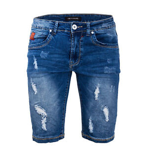 Bermuda Uomo Jeans Corto Denim Strappato Pantaloncini Con Strappi Casual E6378
