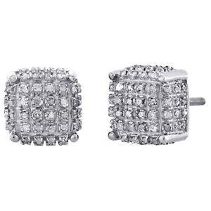 60ef87ce22177 Details about 10K White Gold Real Diamond Stud 3D Cube 9mm Square Mens Pave  Earrings 0.50 CT.