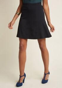 New-Modcloth-Knit-A-Line-Skirt-Sz-M-Black-Skater-Style