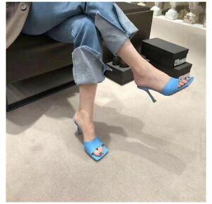 Women High Stilettos Heel Square Peep