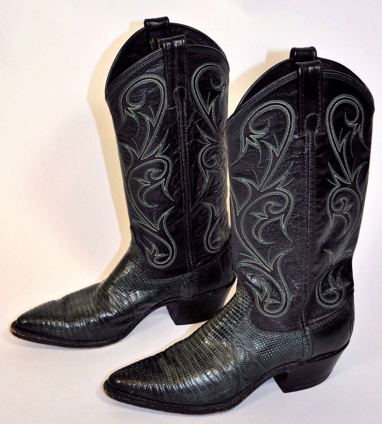 Dan Post Lagarto Negro verde para mujer Western Cowboy botas Sz 6M Sharp