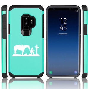 For-Samsung-Galaxy-S9-S9-Shockproof-Hard-Soft-Case-Cowgirl-Praying-Cross-Horse