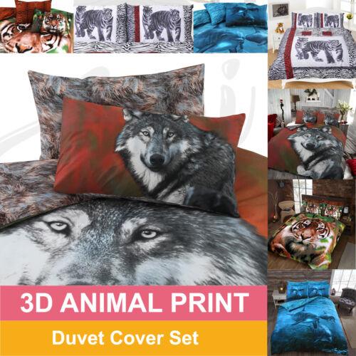 SINGLE SUPER KING 3D ANIMAL PRINT DUVET QUILT COVER SET WITH PILLOW CASE