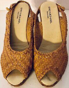 Eric-Michael-Woven-Beige-Leather-Espadrille-Wedge-Sandals-Spain-Women-s-Sz-8-39M