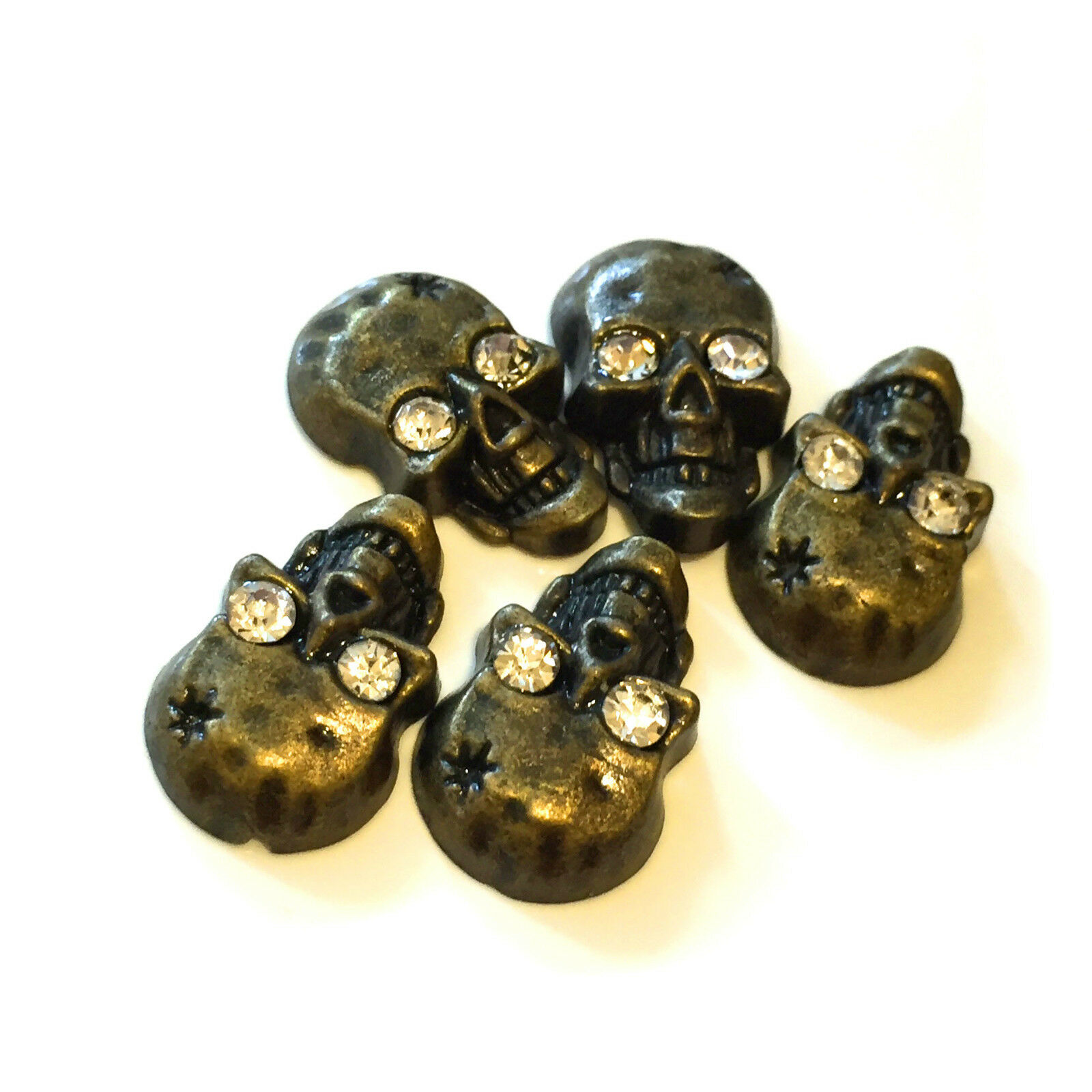 Iron-on Hot-Fix Metal Skull Studs with Diamante//Diamonds shoes Bags Belts Jeans