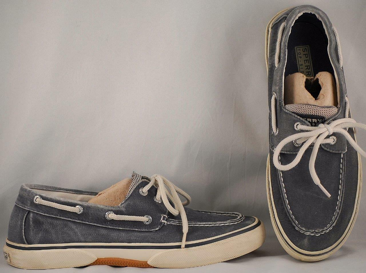 Men's Sperry Top-Sider Weathered Navy Canvas Boat Shoes US 9