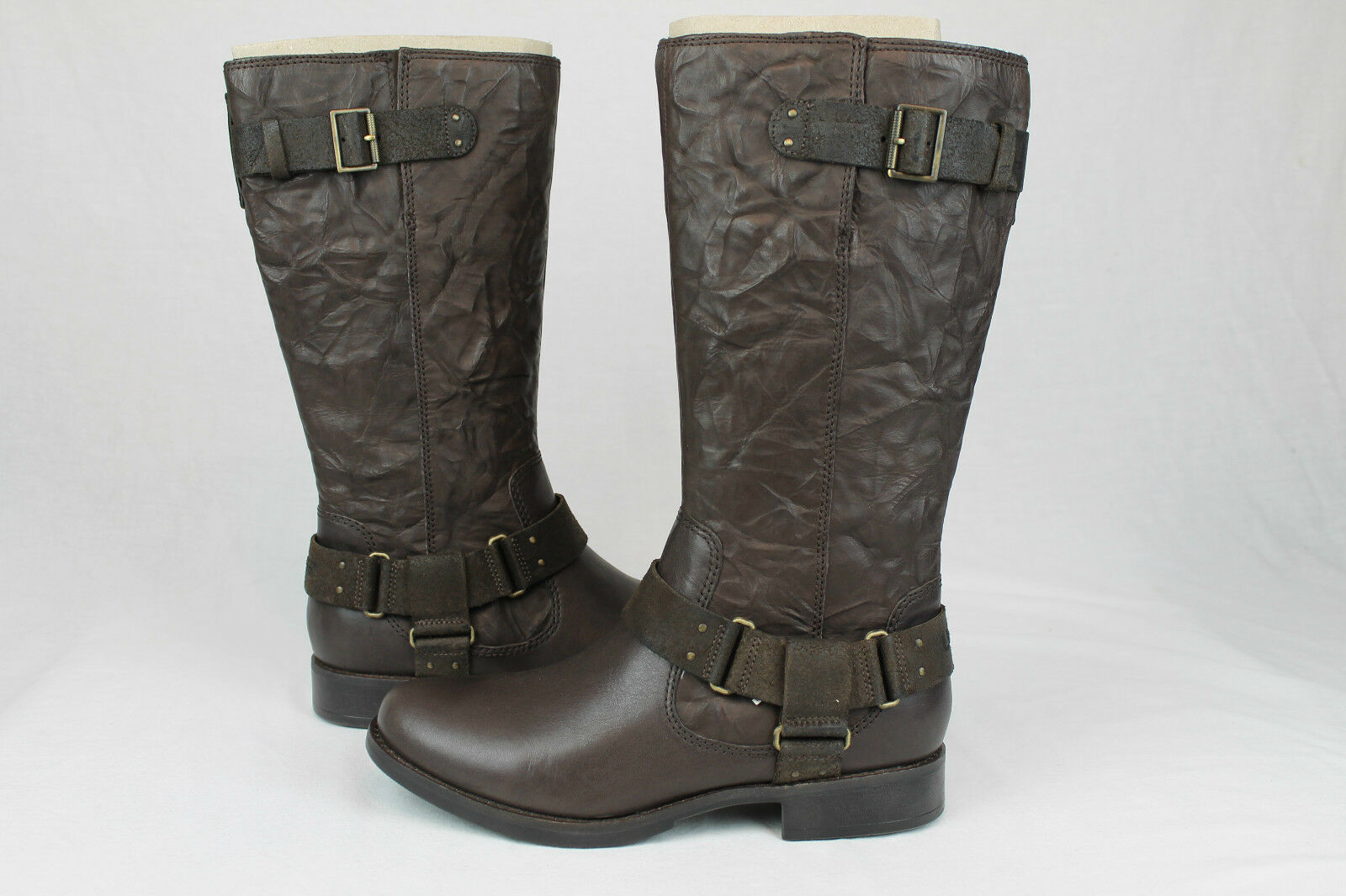 96dd75498f0 UGG Australia Damien Textured Leather Tall Lodge Brown BOOTS Size 9 ...