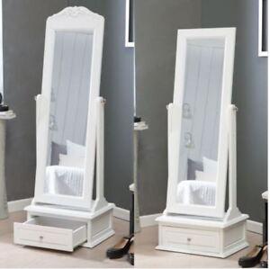 Cheval Mirror Floor Full Body Length Antique Storage Drawer White