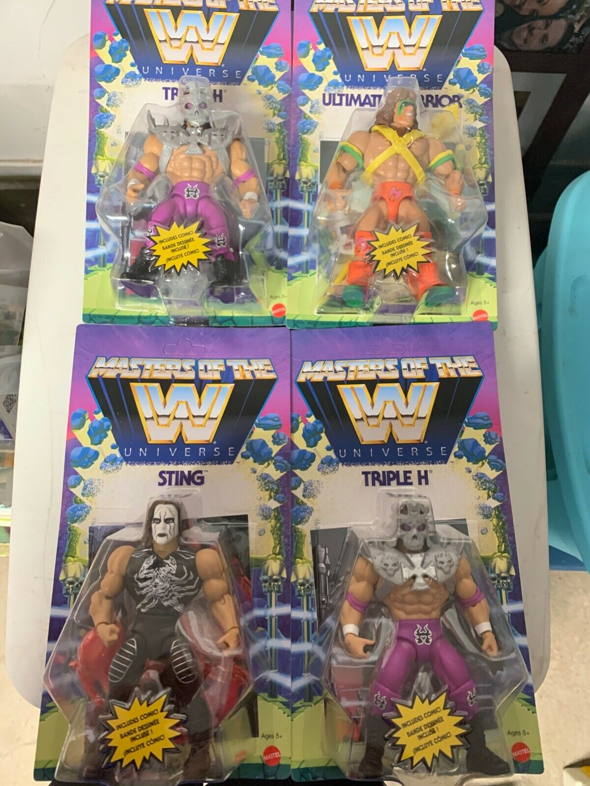 WWE Masters of The Universe Triple H, ultimate warrior, Finn, & sting