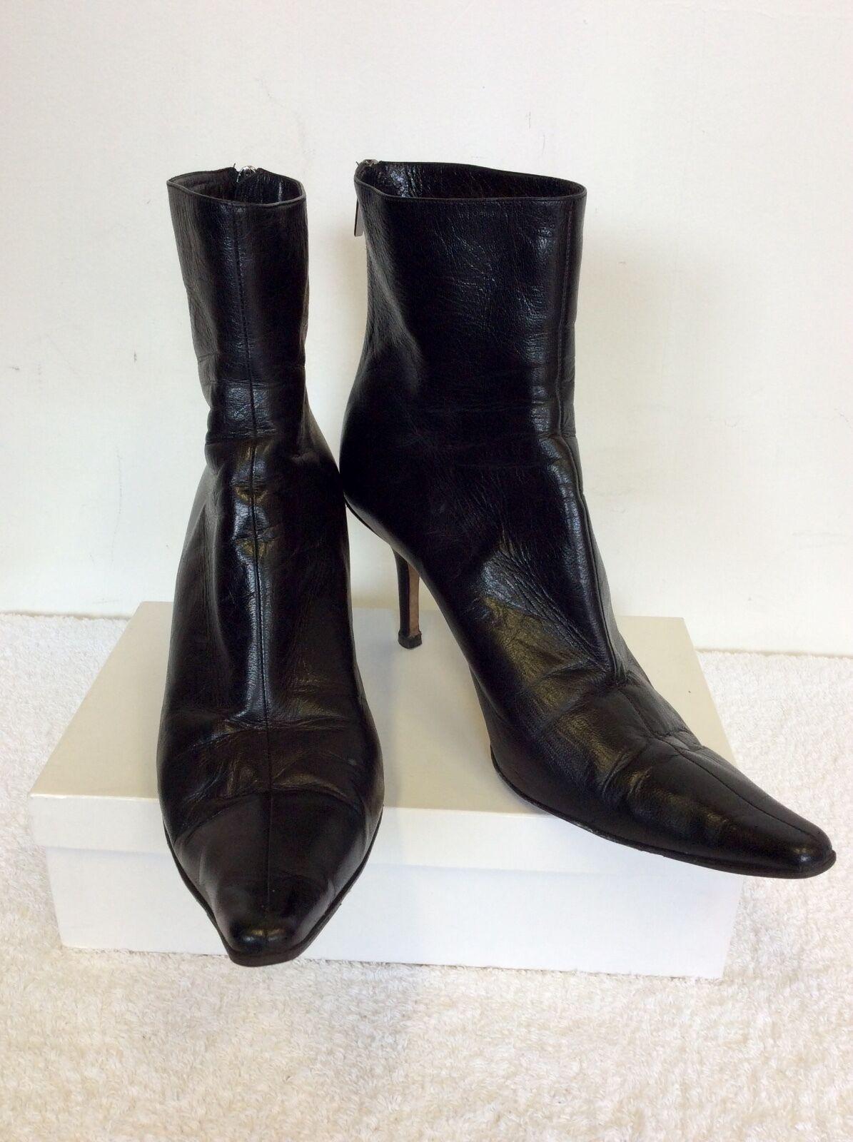 Jimmy CHOO /41.5 cuero negro tobillo botas /41.5 CHOO d5ab80