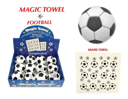 FOOTBALL MAGIC TOWEL FACE CLOTH  TRAVEL CAMPING KIDS FUN COTTON 30 X 30 CM GIFT