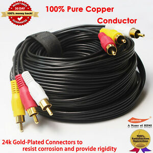 15M-Gold-3RCA-Male-Male-Composite-Audio-Video-TV-Adapter-Cable-Cord-HDTV-HIFI