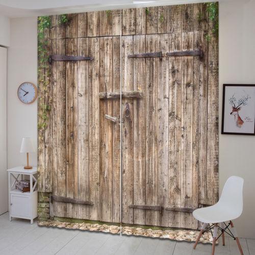 Rustic Wood Barn Door 3D Curtain Window Decor Photo Print Blockout Drapes Fabric