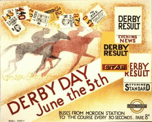 Vintage 1935 Epsom Derby Promotional Poster A3//A2//A1 Print
