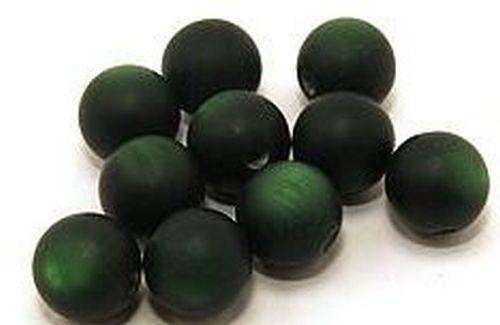 10 Polar-Perlen MATT ca 12mm #20 dunkelgrün