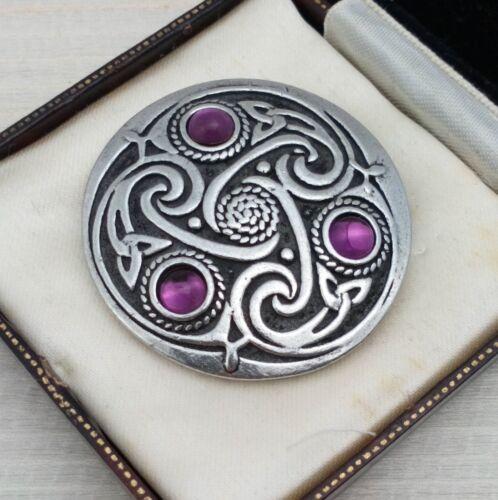 3 Amatista Púrpura Escocés Nudo Celta Tono Plateado Broche Pin Estilo Vintage