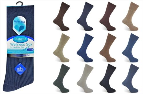 Mens diabetic socks non elastic cotton ribbed comfort