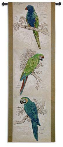68x22 Tropical PARROT Macaw Bird Tapestry Wall Hanging
